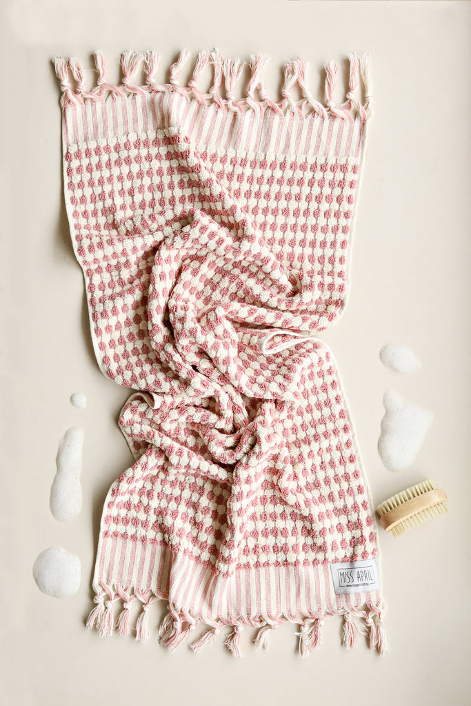 Pom Pom Hand Towel - Pink and White - Project Ten