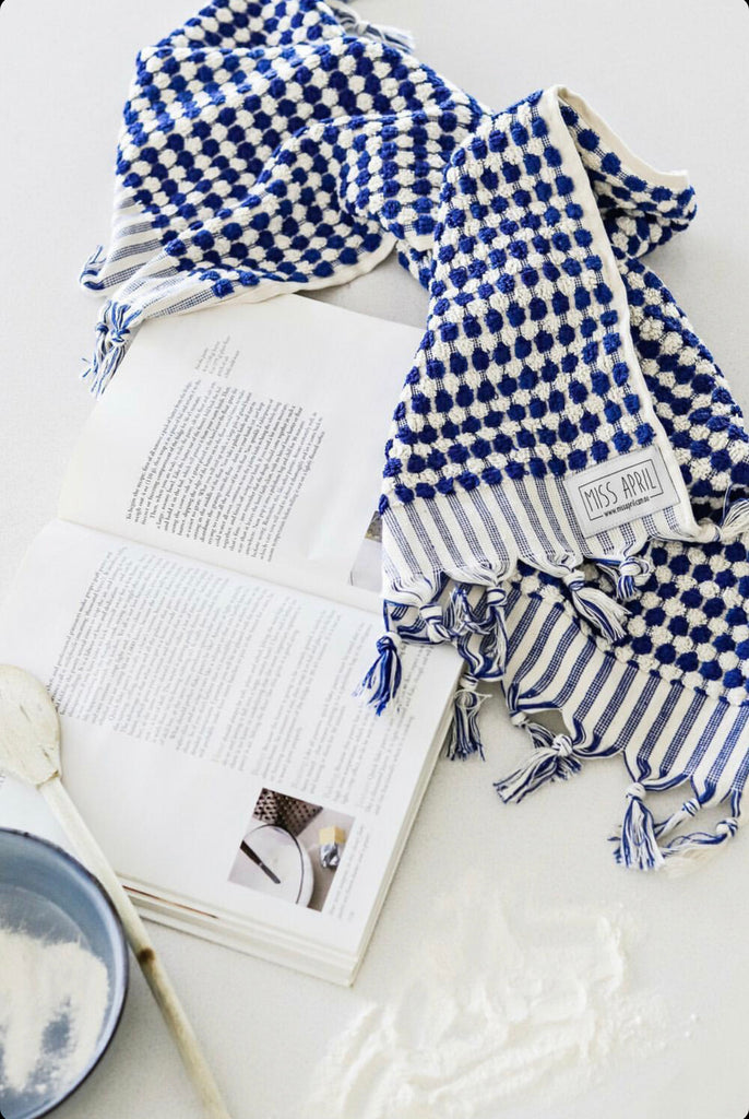 Pom Pom Hand Towel - Navy and White - Project Ten