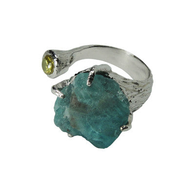 Craft Me Up Aquamarine & Yellow Gem Ring with silver band