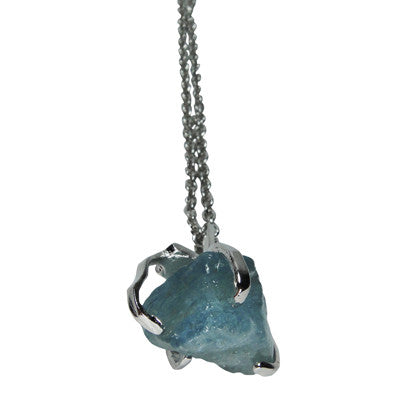 Signature Pendant Aquamarine with silver chain