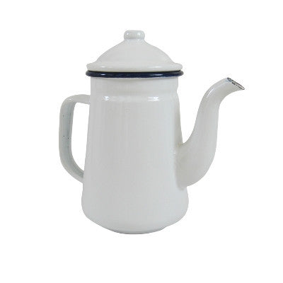 Pony Lane White Enamelware Kettle Jug