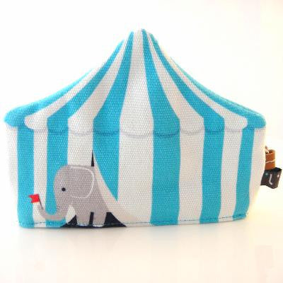 Blue circus tent with elephant