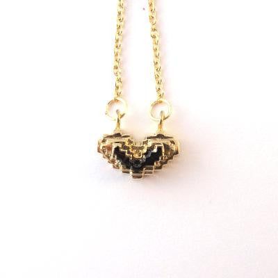 Gold with black crochet styled heart necklace with silver chain