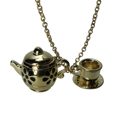 Pony Lane Gold Teapot and cup and saucer necklace