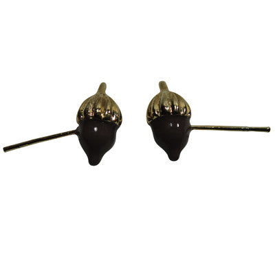Pony Lane Brown Acorn Earrings