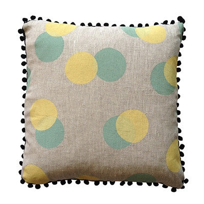 Many moons linen with mint and yellow dots cushion cover