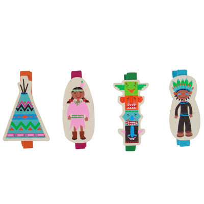 Pony Lane Children's Wooden Pegs Indian Theme
