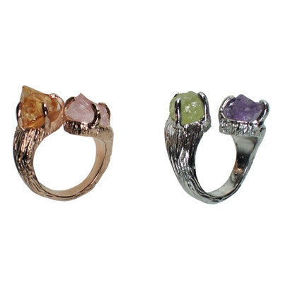 Amethyst & Lime Diopside Ring, Rose Quartz and Citrine Ring