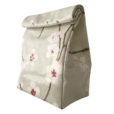 Oil Cloth Reusable Lunch Bag - Apple Blossoms