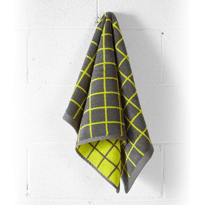 Aura Home Lattice Hand Towel - Neon Lime/Charcoal