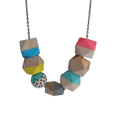 Craft Me Up Wooden Geometric Beads Necklace
