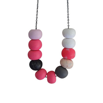 Craft Me Up Hot Pink and Black Confetti Bead Necklace