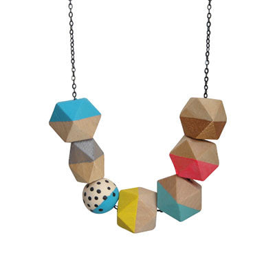 Craft Me Up Wooden Geometric Bead Necklace