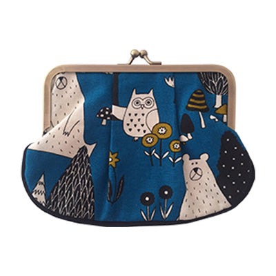 Bear and Owl Pleat Coin Purse