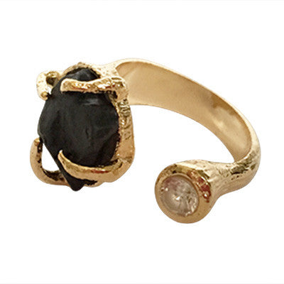 Double Gem Ring - Black & Yellow Gem