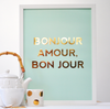 Pony Lane Mint and Copper Foil Bonjour Print