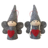 Scandi Wooden and Felt Angels Christmas Decoration