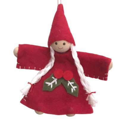 Scandi Wooden and Felt Angel Christmas Decoration - Holly