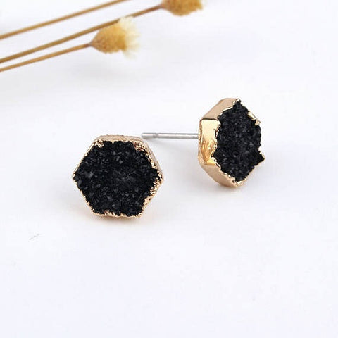 Black Druzy Quartz Hexagon Stud Earrings | Pony Lane