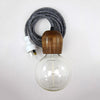 Pony Lane Wooden Light Pendant with grey cord