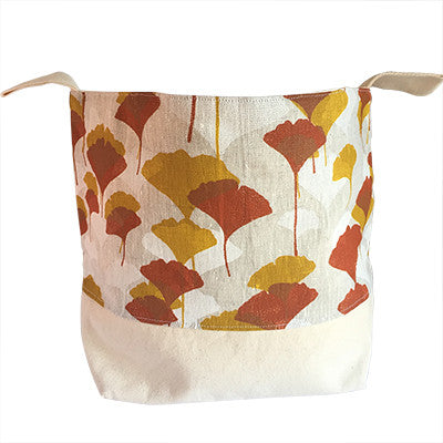 Pony Lane fabric basket ginko leaves