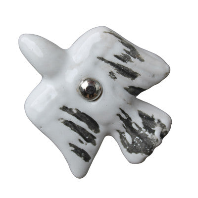 Pony Lane Rustic White Bird Ceramic Drawer Knob