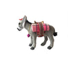 Grey donkey figurine with saddle bags