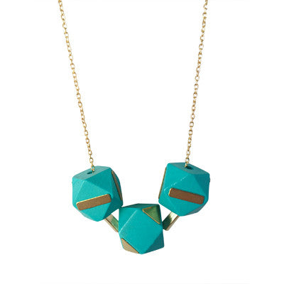 Turquoise and brass wooden geometric bead necklace