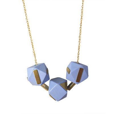 Wooden Geometric Beads and Brass Necklace - Lilac