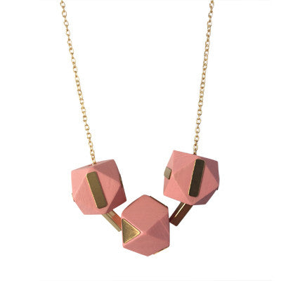 Blush and brass wooden geometric bead necklace