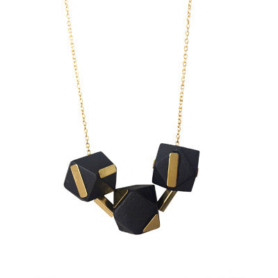 Black and brass wooden geometric bead necklace