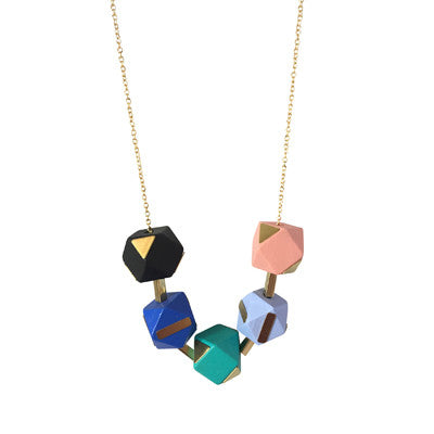 Mixed colours brass and geometric wooden beads necklace