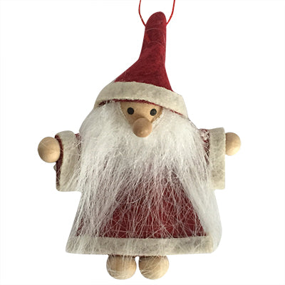 Scandi Wooden and Felt Santa Christmas Decoration