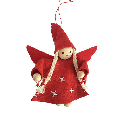 Scandi Wooden and Felt Fairy Christmas Decoration