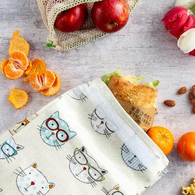 Oil Cloth Reusable Lunch Bag - Crazy Cats