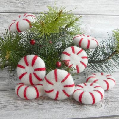 Felted Christmas Peppermint Decorations