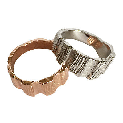Rose gold or silver band rings