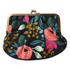 Rifle Paper Co Floral Pleat Coin Purse in Black