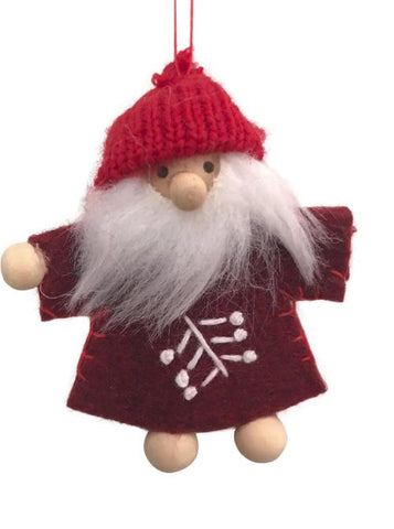 Scandi Wooden and Felt Santa Christmas Decoration - White Stitches