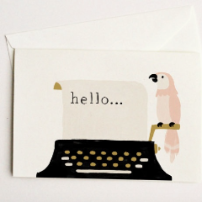 Quill & Fox Single Card - Hello Typewriter and Parrot