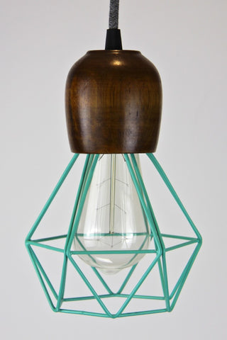 Wooden Light Pendant with Coloured Diamond Cage