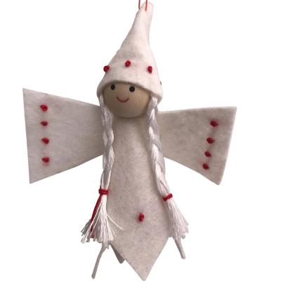 Scandi Wooden and Felt Angel Christmas Decoration - Stitches