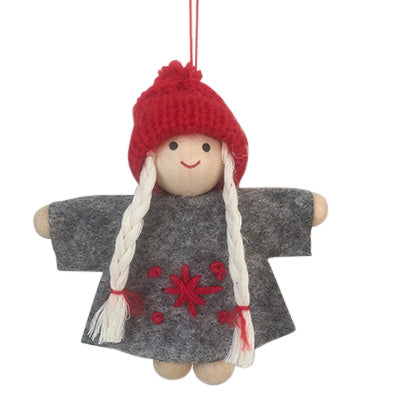 Scandi Wooden and Felt Angel Christmas Decoration - Grey Christmas Girl