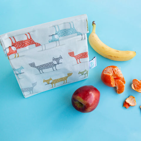 Oil Cloth Reusable Lunch Bag - Fox