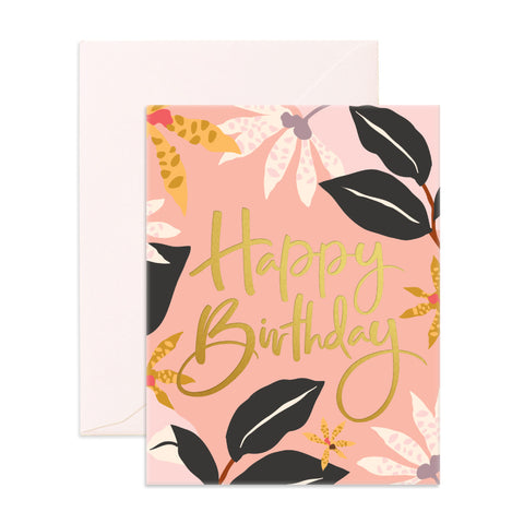 Fox & Fallow card - Happy Birthday (Orchids)