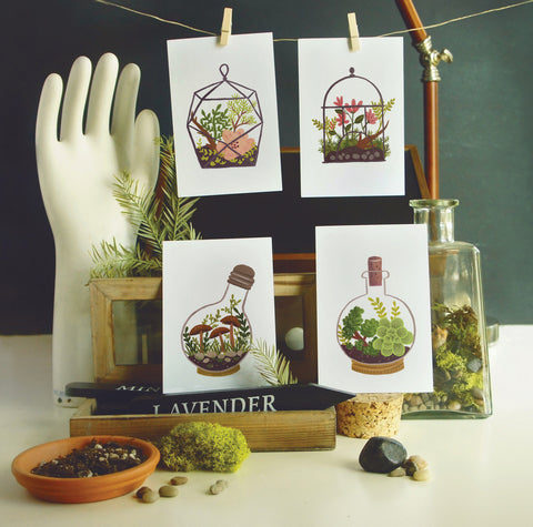 Quill & Fox Postcards - Terrarium Postcard Set