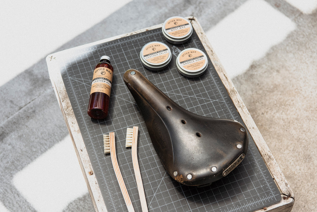 Clean & Condition Brooks Leather Saddle Bicycle Seat With Otter Wax Saddle Soap, Leather Salve, & Leather Oil