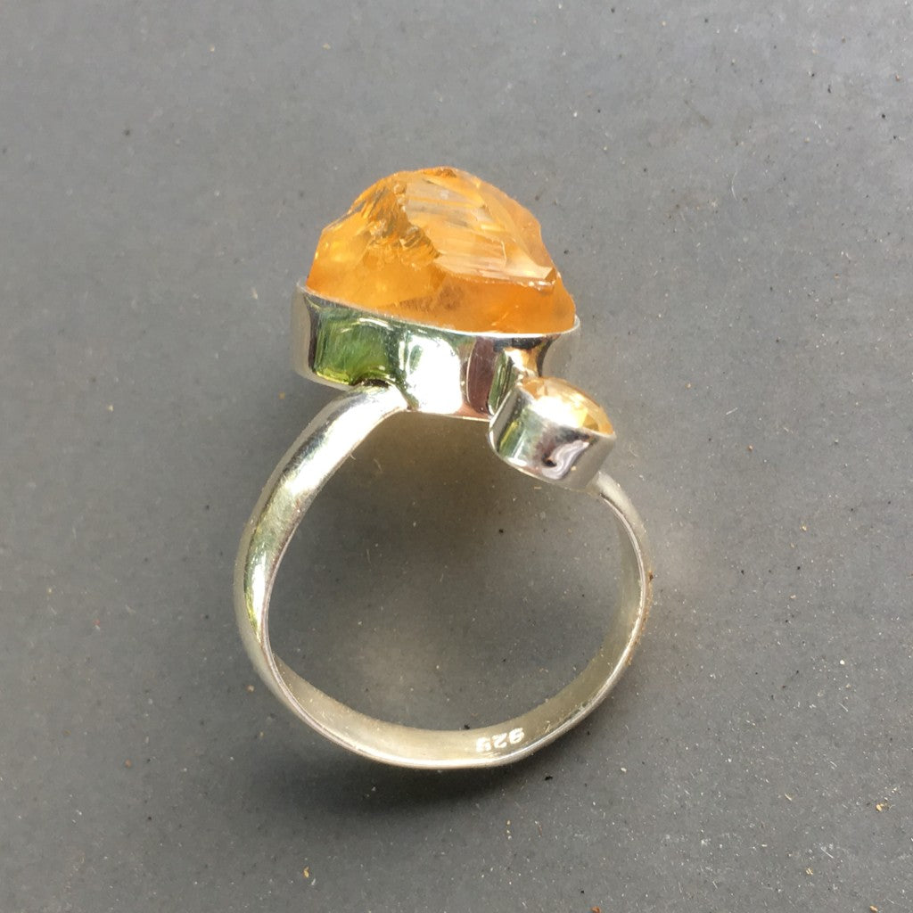 Two Citrine ABUNDANCE Ring - rough and faceted - Sterling Silver bright!