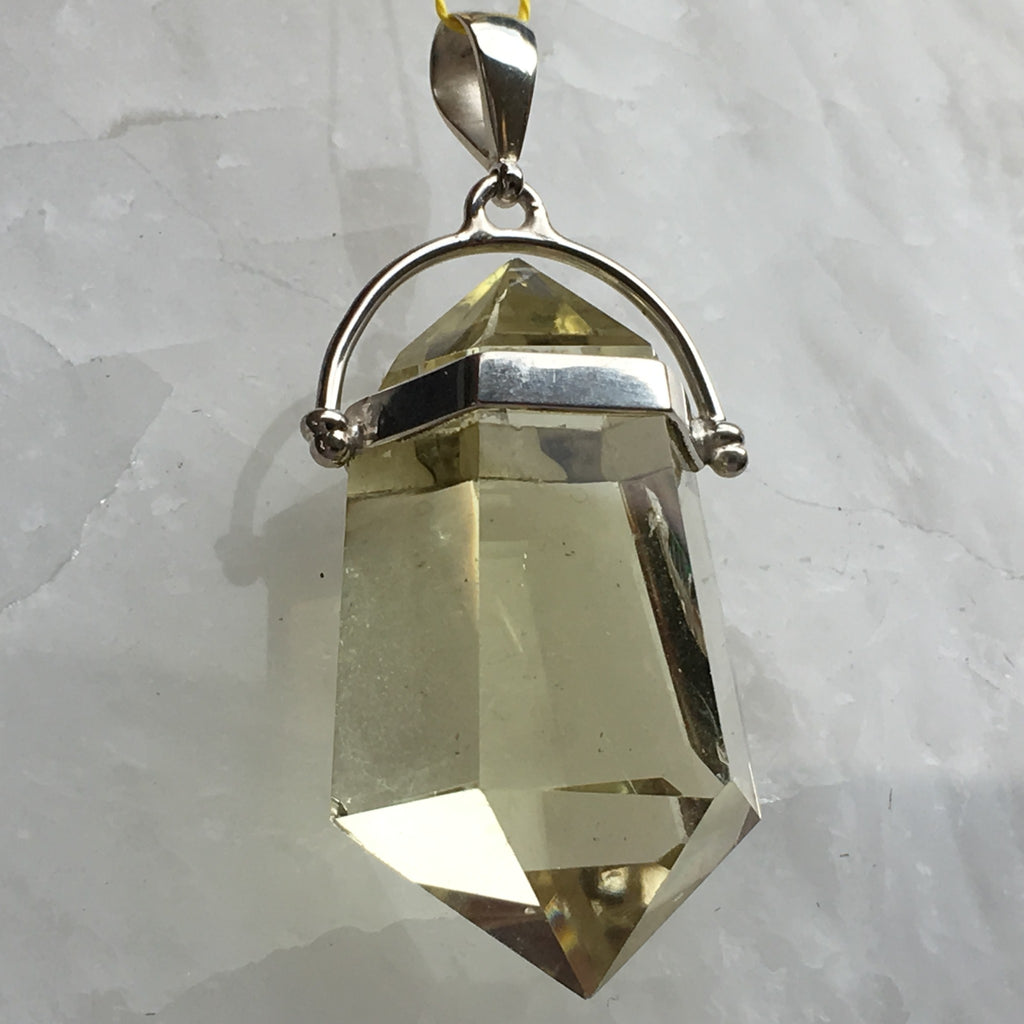 Lemon Quartz Natural Crystal Pendant / Pendulum - Healing Esoteric Sterling