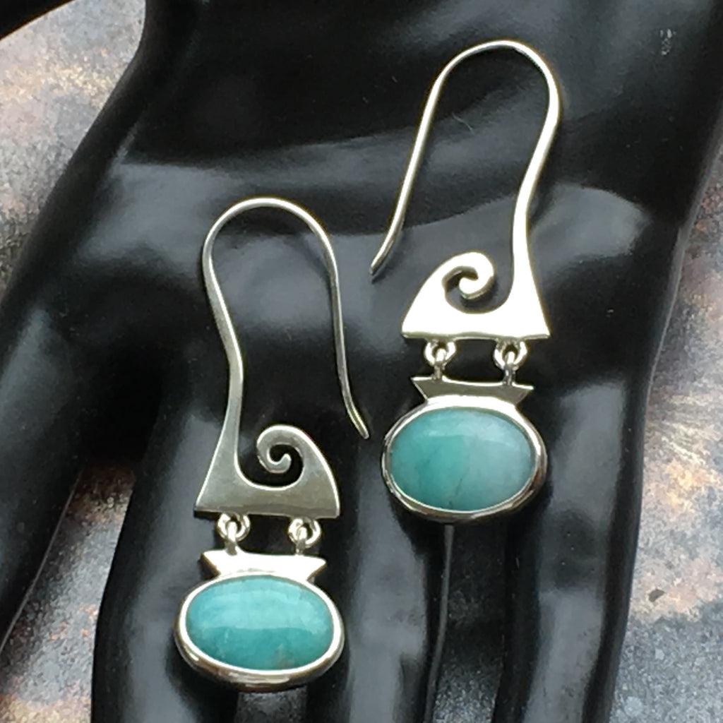 Elegant Amazonite Earrings - Spiral Design Superb Sky Blue, Sterling Silver